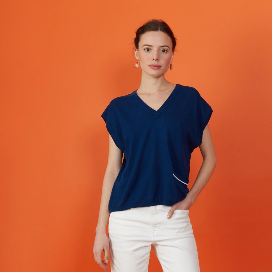 T-shirt col V en lin cachemire - Meg 7301 corsaire - 06 Bleu moyen