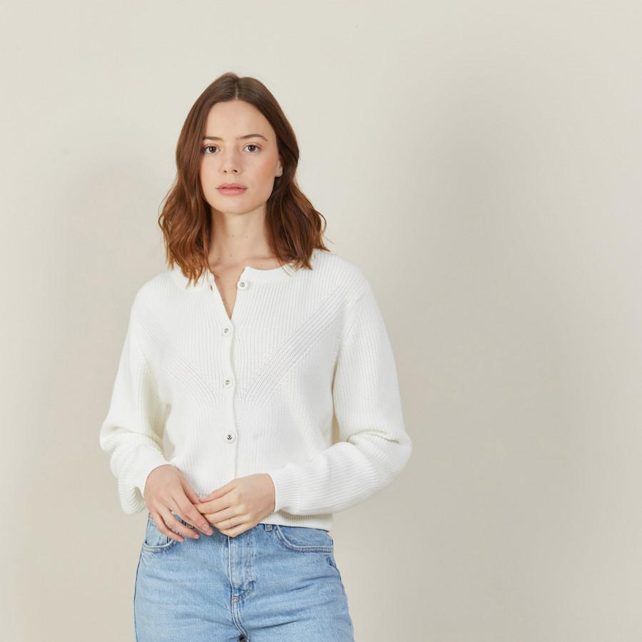 Cardigan en coton bio grosse maille - Mina 7200 blanc - 02 Blanc