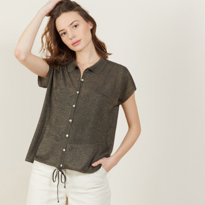 Iridescent effect short-sleeved shirt - Nathalie