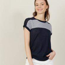 T-shirt bicolore en lin flammé - Naty 7335 marine/blanc - 05 Bleu marine