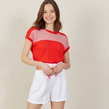 T-shirt bicolore en lin flammé - Naty 7339 ecarlate/poudre - 52 Rouge
