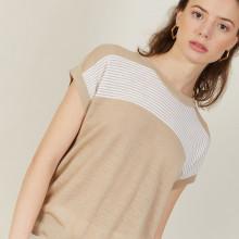 T-shirt bicolore en lin flammé - Naty 7340 sahara/blanc - 13 Beige moyen