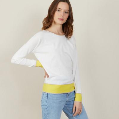 Round-neck tricolor cotton sweater - Nelda