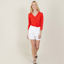 Cardigan à poches en lin flammé - Bao 7280 ecarlate - 52 Rouge