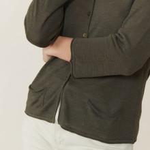 Cardigan à poches en lin flammé - Bao 7212 fusain - 83 Kaki