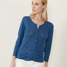 Cardigan à poches en lin flammé - Bao 7241 corsaire - 06 Bleu moyen