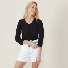 Cardigan à poches en lin flammé - Bao 7210 noir - 01 Noir