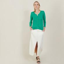 Cardigan à poches en lin flammé - Bao 7250 veronese - 22 Vert moyen