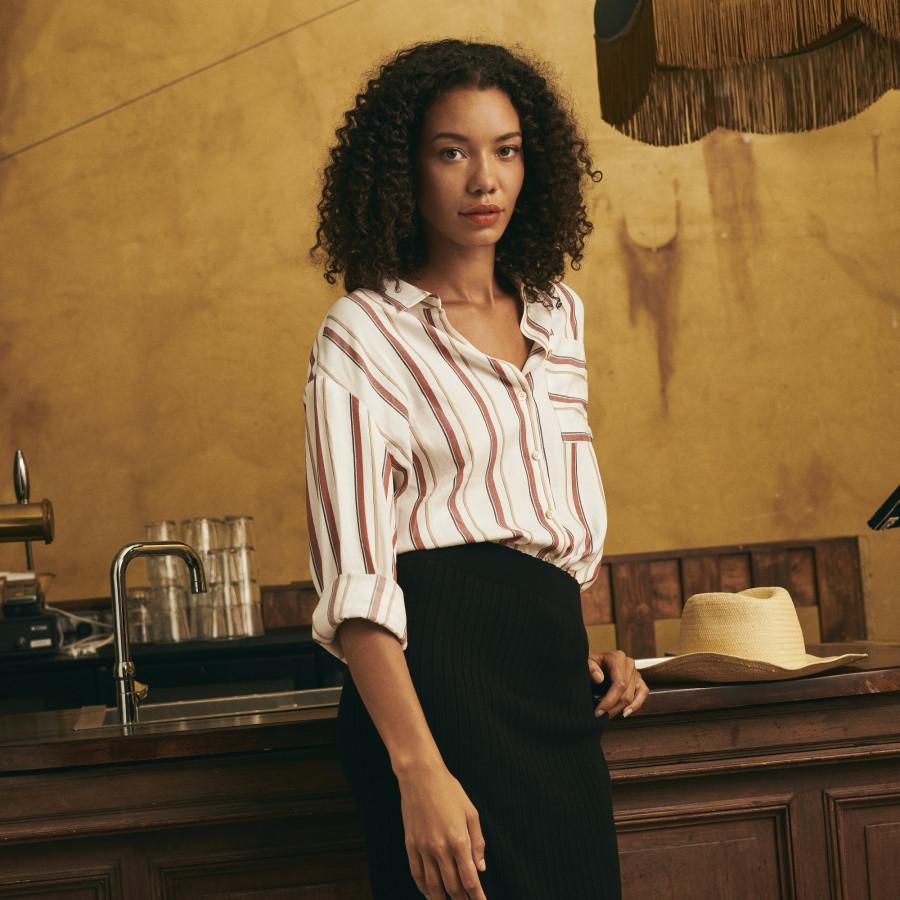 Striped viscose and linen shirt - Malory