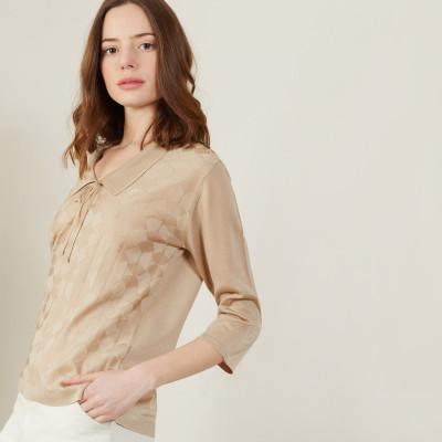 Tie-neck polo shirt in Fil Lumière - Amara