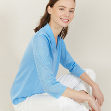 3/4 sleeve openwork polo shirt - Anaelle