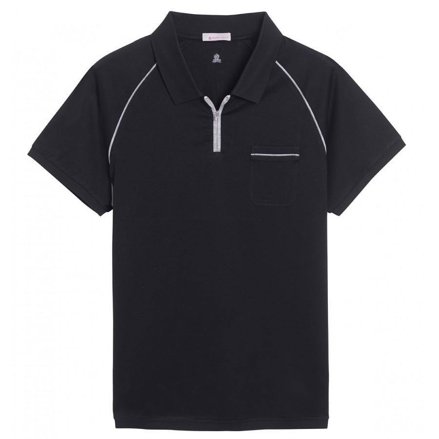 Polo manches courtes zip poche Fernando noir