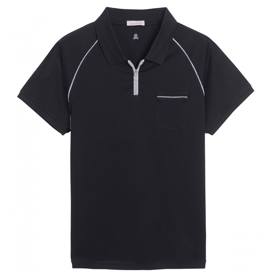 Short sleeve polo shirt zip pocket Fernando
