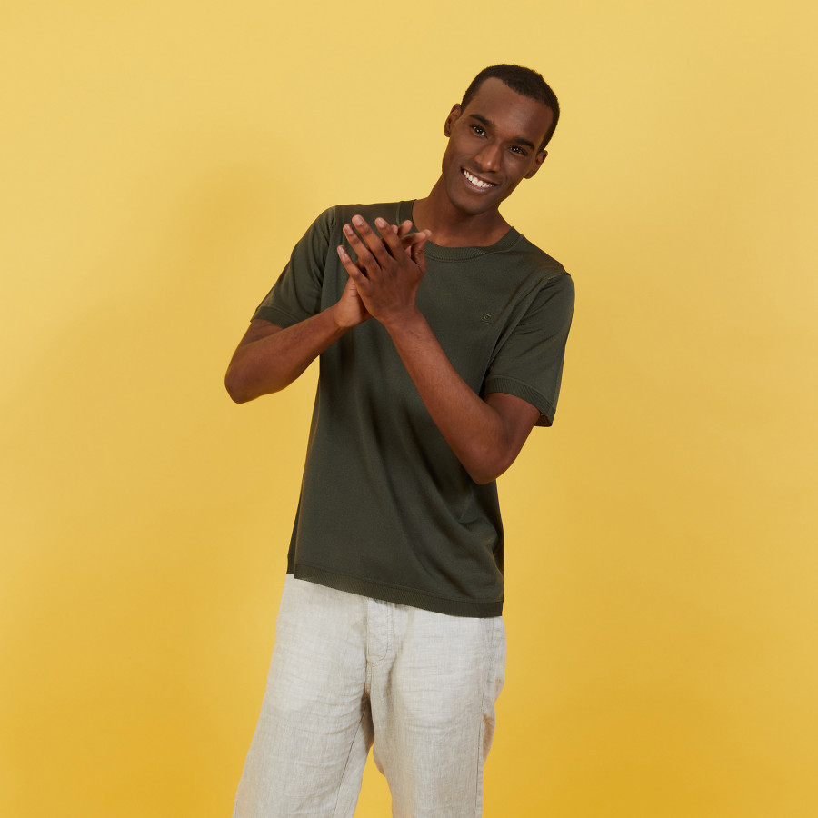 T-shirt col rond en Fil Lumière - Bocca 7212 fusain - 83 Kaki