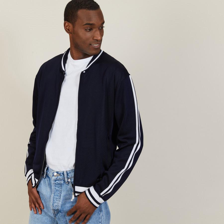 Zipped cardigan in Fil Lumière - Paddy