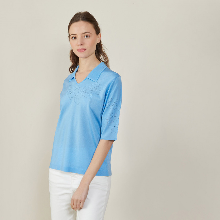 Openwork patterned polo shirt with elbow sleeves - Ambre