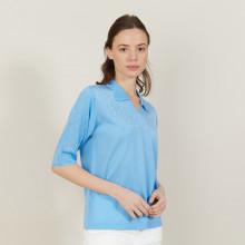 Polo à motifs ajourés manches coudes - Ambre 2750 perruche - 06 Bleu moyen