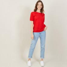 T-shirt manches courtes en Fil Lumière - Adeline 9983 basque - 52 Rouge
