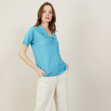 Short-sleeved polo shirt with tie collar - Ava