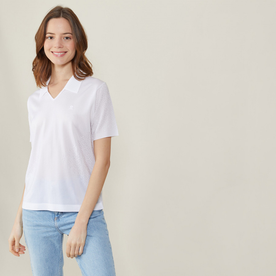 Polo manches courtes à motifs - Angie 0330 blanc - 02 Blanc