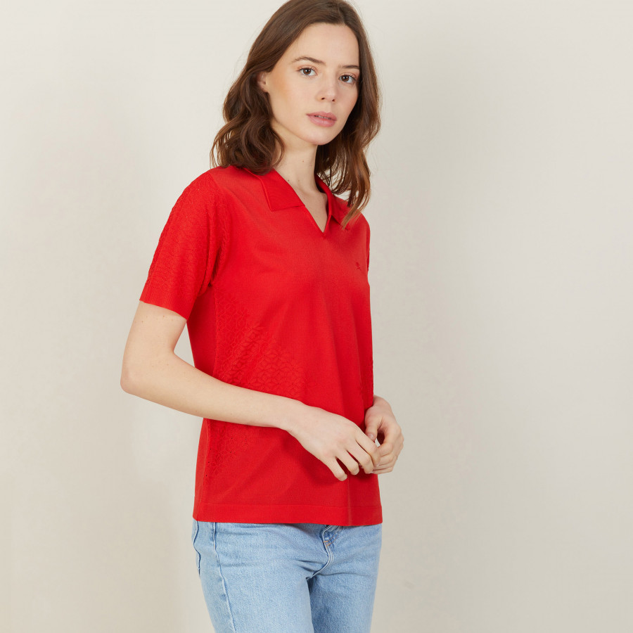 Short-sleeved patterned polo shirt - Angie