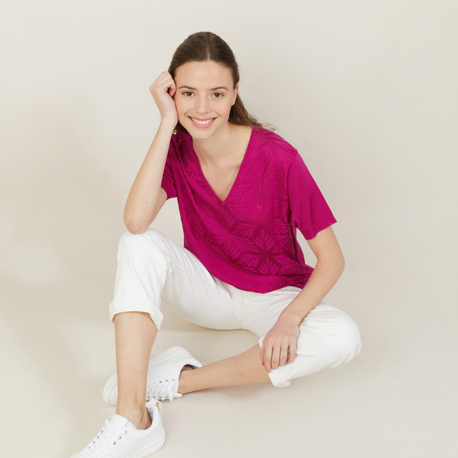 T-shirt col V à motifs en Fil Lumière - Amy 2713 love - 79 Rose vif