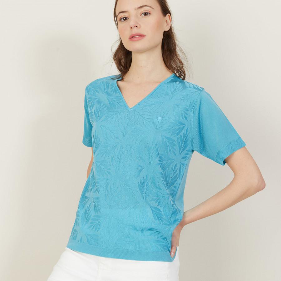 T-shirt col V à motifs en Fil Lumière - Amy 5333 nerifer - 49 Turquoise