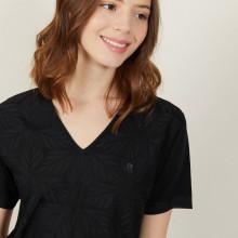T-shirt col V à motifs en Fil Lumière - Amy 0307 noir - 01 Noir