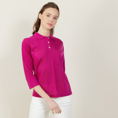 Fil Lumiere polo shirt 3/4 sleeves with patterns - Aline