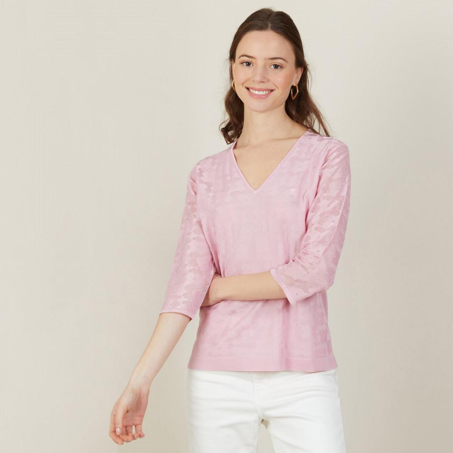 T-shirt col V en Fil Lumière manches 3/4 - Angela 2733 rose - 24 Rose clair