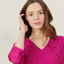 V-neck T-shirt in Fil Lumière 3/4 sleeves - Angela