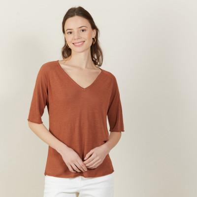 T-shirt manches coudes en lin flammé - Bonbon