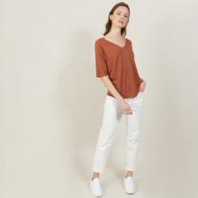 T-shirt manches coudes en lin flammé - Bonbon 7230 epice - 46 Marron clair