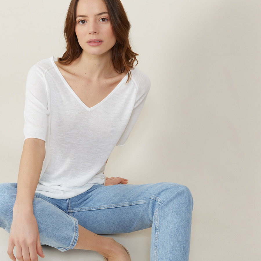 Slub linen elbow-sleeved T-shirt - Bonbon
