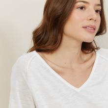 T-shirt manches coudes en lin flammé - Bonbon 7200 blanc - 02 Blanc