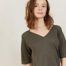 T-shirt manches coudes en lin flammé - Bonbon 7212 fusain - 83 Kaki