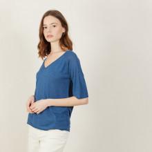 T-shirt manches coudes en lin flammé - Bonbon 7241 corsaire - 06 Bleu moyen