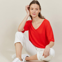 T-shirt manches coudes en lin flammé - Bonbon 7280 ecarlate - 52 Rouge
