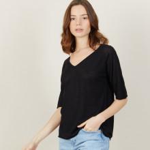 T-shirt manches coudes en lin flammé - Bonbon 7210 noir - 01 Noir