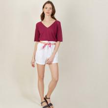 T-shirt manches coudes en lin flammé - Bonbon 7282 Rubis - 51 Bordeaux