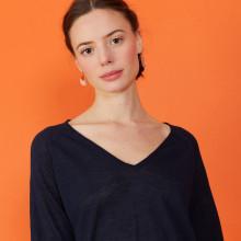 T-shirt manches coudes en lin flammé - Bonbon 7240 marine - 05 Bleu marine