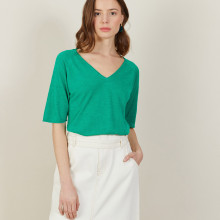 T-shirt manches coudes en lin flammé - Bonbon 7250 veronese - 22 Vert moyen
