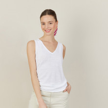 Débardeur col V en lin flammé - Boréal 7200 blanc - 02 Blanc