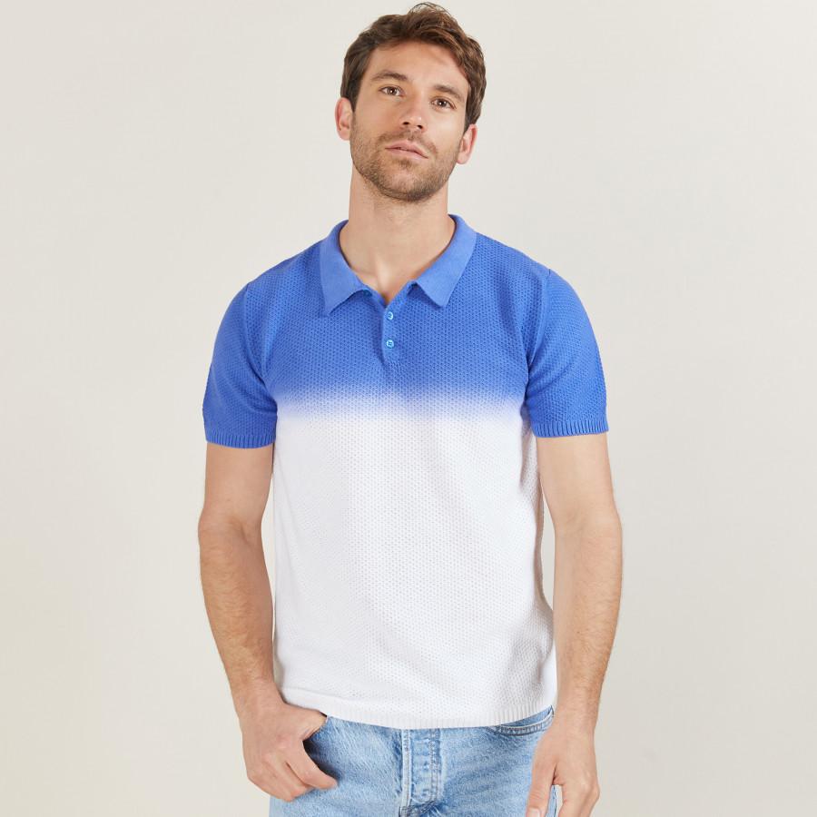 Gradient cotton and linen polo shirt - Django