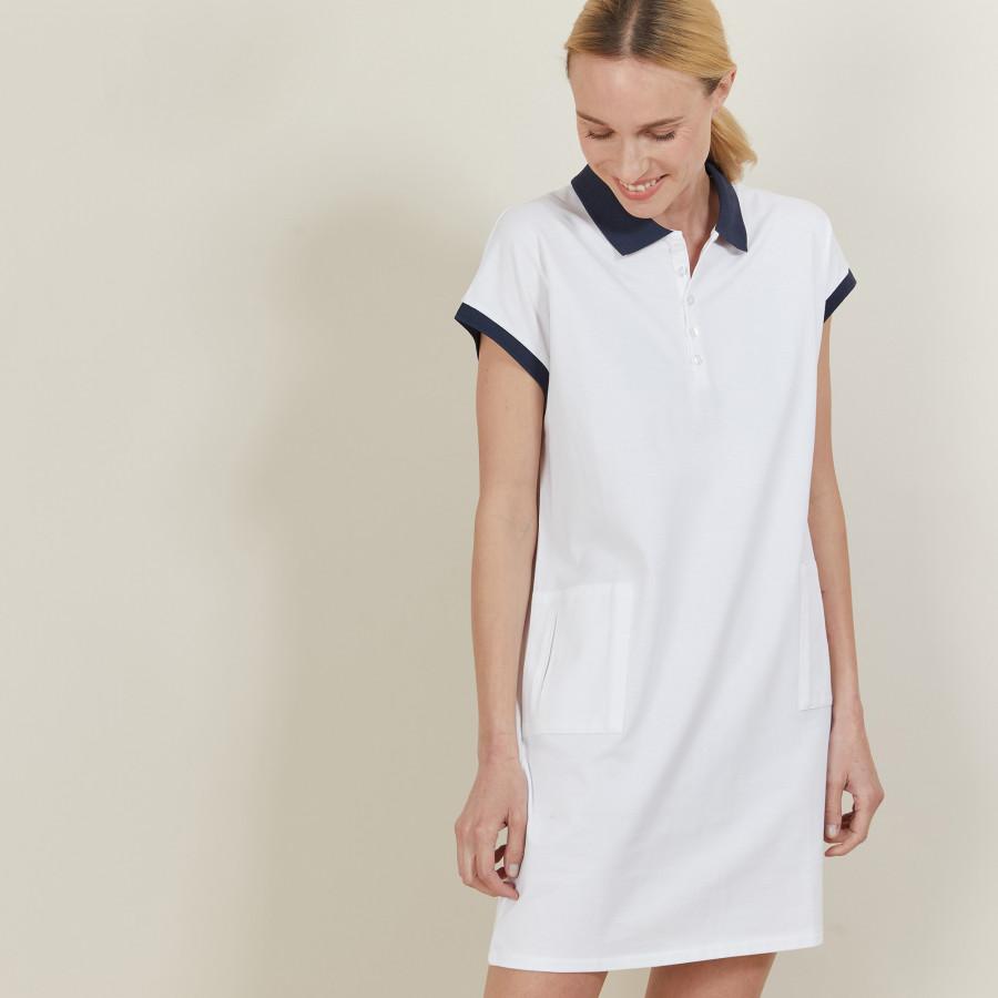 Robe manches courtes en coton - Angy 6800 blanc - 02 Blanc