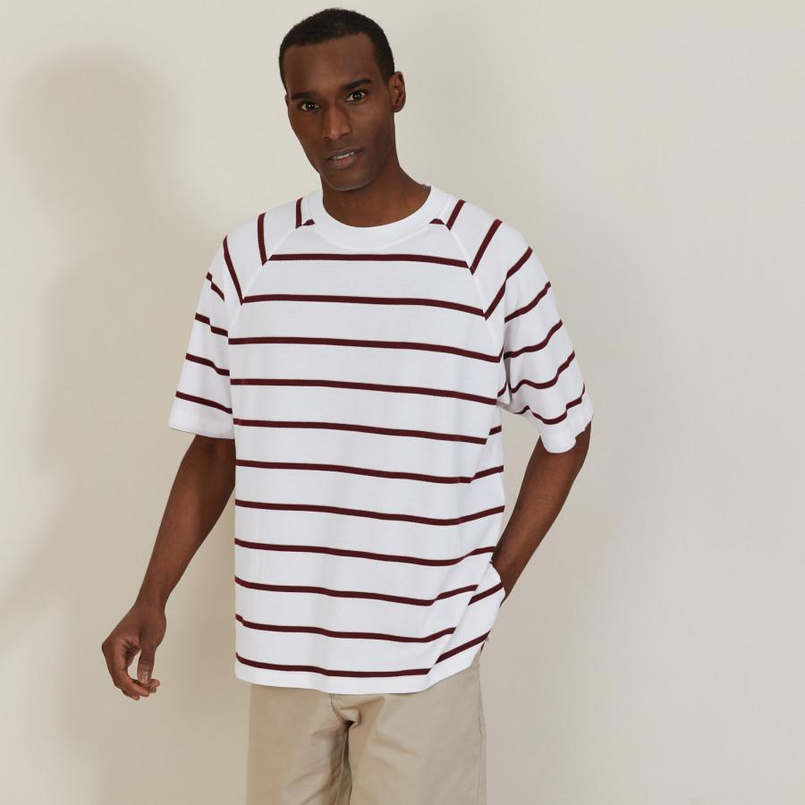 T-shirt en coton à rayures - Patrick 7360 blanc/rubis/sahara - 02 Blanc