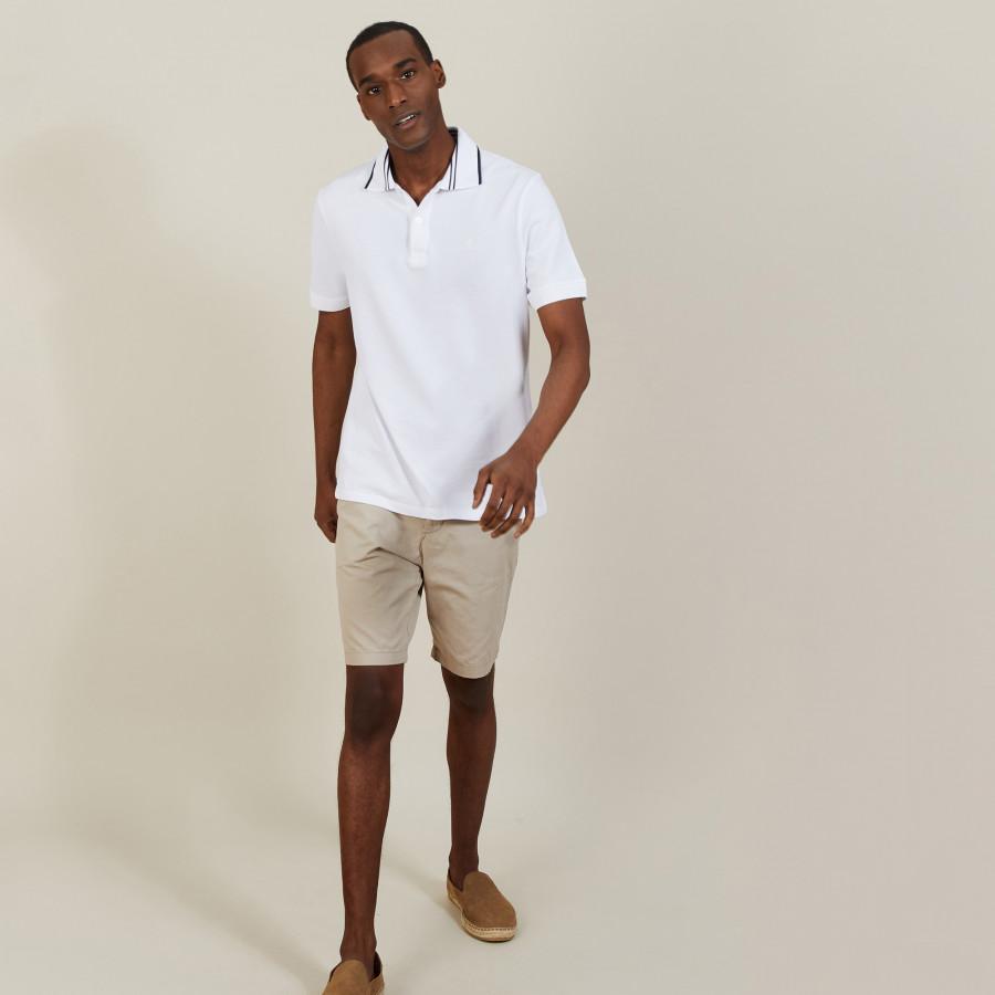 Polo col bicolore en coton - Bistro 7200 blanc - 02 Blanc