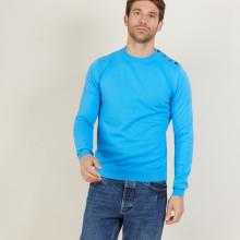 Pull col rond en coton - Bonze 6843 azur - 06 Bleu moyen