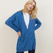 Long gilet en laine avec poches - Anne-Sophie 6141 Indigo - 06 Bleu moyen
