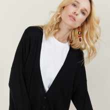 Long gilet en laine avec poches - Anne-Sophie 6111 ombre chine - 01 Noir